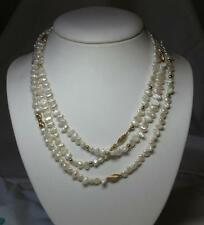 """54"""" Pearl Necklace 14K Gold Wedding Jewelry Vintage Pearls Hollywood Classic"""