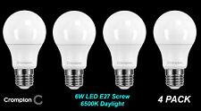 4 x LED 6W Pearl Light Globes / Bulbs A60 GLS E27 Screw Cool Daylight 6500K