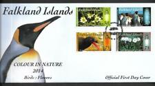 FALKLAND ISLANDS, 2014, COLOUR IN NATURE, BIRDS, FLOWERS, ILLUST FDC