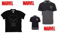 Marvel Comics Capt. America, Punisher, S.H.E.I.L.D Polo Shirt Comic Book Adult