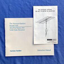 Vintage Harman-Kardon Model 930 Stereo Reciever Instruction Manual