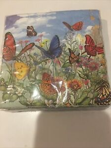 CAMERON  DESIGNS  20-3 PLY BEVERAGE NAPKINS  25 cm x 25 cm HONG KONG BUTTERFLY