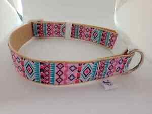 Pink and blue aztec print adjustable dog collar medium size