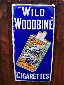ORIGINAL ENAMEL SIGN WILLS WILD WOODBINE CIGARETTES