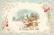 New Year~Winter Village~Mill Stream~White Scroll Art Nouveau~Flower~Mint Emb '08