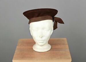 VTG Women's 30s 40s Brown Wool Felt Sailor Style Hat 1930s 1940s
