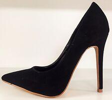 SR Pointy Toe Nubuck Stiletto Heel Pumps Slip Ons Slides Shoes Black