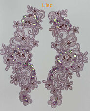 2 x RICAMATO Venise Pizzo Paillettes & Perline Applique Motif Trim in lilla # 2