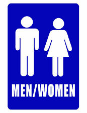 Bathroom Sign MEN / WOMENS RESTROOM SIGN Aluminum NO RUST Bright color blue #289