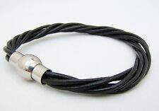 with Stainless Steel magnetic clasp Mens Black Leather 6mm Bracelet