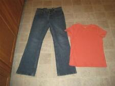 OLD NAVY misses sz 6 BOOTCUT jeans & ST. JOHN'S BAY peach knit top sz S lot t2