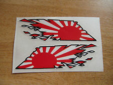 """Japanese Rising Sun Flag """"ripped"""" style stickers - 300mm decals x2 LARGE"""
