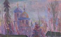 """Russischer Realist Expressionist Öl Leinwand """"Kirche"""""""