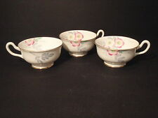 """ROYAL CHELSEA """"Wild Rose"""" Floral Pattern Gold Trimmed Tea Cups ENGLAND 3490A (3)"""