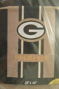 Green Bay PACKERS NFL Professional Football Team, Burlap -Look, HOUSE Flag 28x44