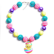 EASTER EGGS Chickling Pendant Gumball Bubblegum Chunky bead Kids Necklace