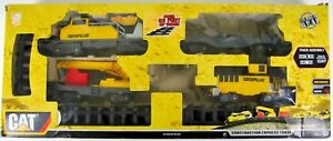 Caterpillar CAT Construction Express Train- 4 Cars & 26 Track Pieces TESTED!