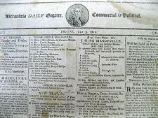 <1812  newspaper RUNAWAY SLAVE ADS Alexandria Virginia & Prince Georges MARYLAND