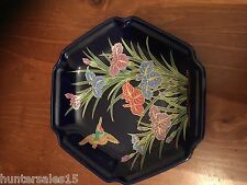 Vintage Oriental hexagonal dish / Tray  with flowers and bird blue