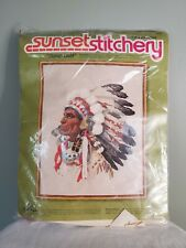 Vintage 1977 Sunset Stitchery Indian Chief Crewel Embroidery Kit Opened