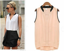 Womens Fashion Summer Loose Casual Chiffon Sleeveless Vest Shirt Tops Blouse nf5