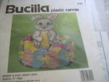 "Bucilla Bunny & Egg Candy Dish Plastic Canvas Kit # 6121 -Approx 9"" High NEW"