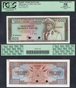 l1965 BURUNDI 1000 FRANCS A 000000 P-14ct PCGS 58>COLOR TRIAL KING MWAMI ARMS NR