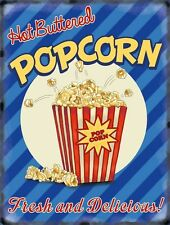 Popcorn American Style 50's Dinner Kitchen Cafe Food Retro, Small Metal Tin Sign