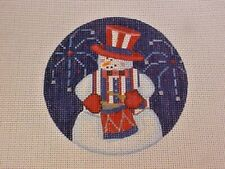 Pepperberry Designs Needlepoint Hand Stitch Painted Canvas Patriotic Snowman 18