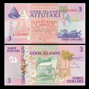 Cook Islands 3 Dollars, 1992, P-7AAA, Prefix AAA, UNC