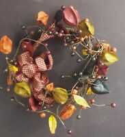 RED, GREEN, BURNT ORANGE BERRY & POD COUNTRY PRIMITIVE WREATH W/BOW