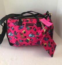 Betsey Johnson Cats Kittens Weekender Travel Duffle Bag & Wristlet Pouch NWT