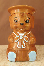 "VTG 11½"" TWIN WITLTON CERAMIC BABY SAILOR MOUSE COOKIE JAR BROWN W/BLUE TRIM"