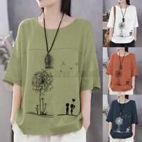 Women Linen Cotton Summer T-Shirt Tops Floral Print Oversize Blouse Shirt Tee US
