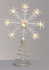 Noël Batterie LED Arbre dessus Étoile Haut Flocon de Neige Blanc Chaud Neuf
