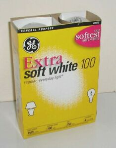 4 GE GENERAL ELECTRIC EXTRA SOFT WHITE 100W INCANDESCENT BULBS 48672