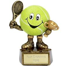 TENNIS TROPHY COMICAL BALL AND CUP RACQUET RACKET RESIN ENGRAVED FREE