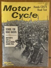 Vintage Motor Cycle Magazine August 1967 Honda CD175 Test 500cc Moto Cross GP