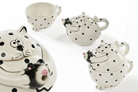 Cat And Mouse Tea For One,Ceramic Teapot and Cup,Painted Spotty Black And White