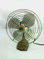 "Vintage Manning Bowman Model 31 Metal Table Top Desk Fan 8"" Cast Iron Base Works"