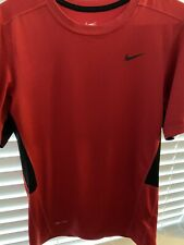 Nike Mens Dri-fit Solid Red/ Black Trim Short Sleeve T Shirt Size S SmallUsed
