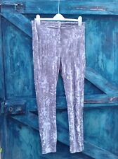 Women's Leggings Size 12/14 Topshop Silver Crushed Velvet Stretch Skinny Party