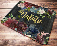 Personalized Name Mouse Pad Burgundy Floral Mousepad Womens Desk Accessories