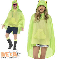 Frog Poncho Waterproof Festival Fancy Dress Adults Mens Ladies Animal Costume