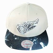 Mitchell & Ness NHL Detroit Redwings Strapback Hat Stained Denim Cream Color Cap