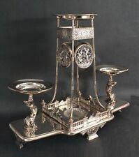 Lrg Antique Victorian Meriden Britannia Silverplate Merman Cherubs Centerpiece