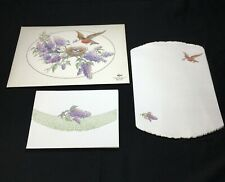 Vintage Stationary Set Sheet Paper & Envelopes Embossed Nature Robbin Lilac