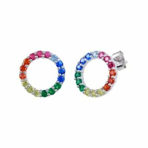 Sterling Silver Open Circle Stud Earrings w/ Rainbow Multi Color CZ Stones