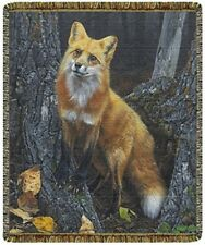New Sly Orange Fox Woven Afghan Tapestry Throw Blanket Gift Red Tail Foxes Large