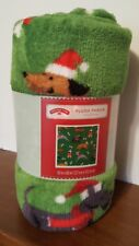Dogs Christmas Throw Blanket Puppies Green  Plush Gifts Soft Cozy 50x60 New